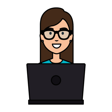Delighted woman working with a laptop character illustration design Ilustrace