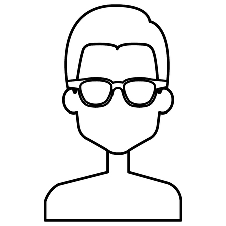 Young man shirtless with glasses avatar character illustration design