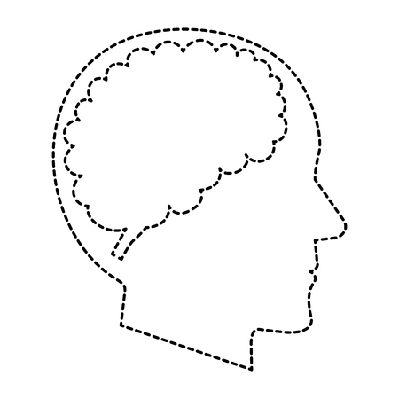 Dotted line sketch of a brain storming with human profile vector illustration design