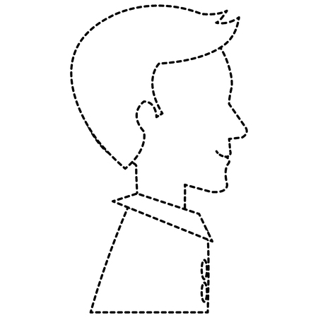 A dotted line sketch of humans profile isolated icon vector illustration design Ilustração