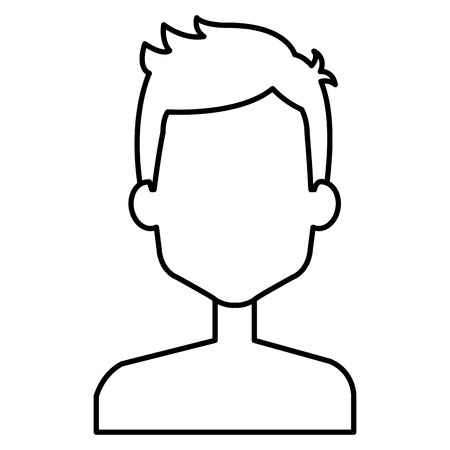 A linear outline of a young man shirtless avatar character vector illustration design