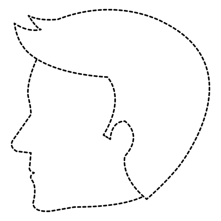 Dotted line sketch of human profile isolated icon vector illustration design