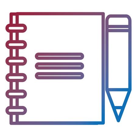 Blad van notitieboekje met vector de illustratieontwerp van het potloodpictogram.