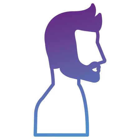 Man profile shirtless avatar character vector illustration design.