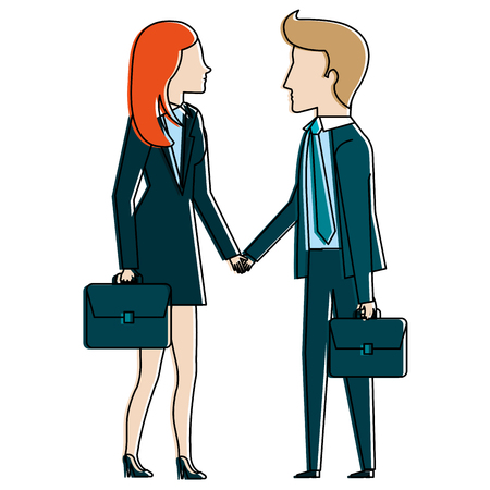 Businesspeople with portfolio avatars characters vector illustration design. 일러스트
