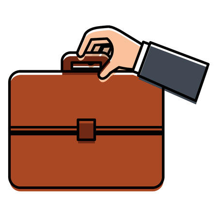 A businessman hand with portfolio briefcase vector illustration design