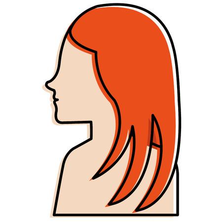 A woman profile shirtless avatar character vector illustration design Çizim