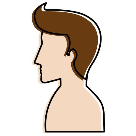 A man profile shirtless avatar character vector illustration design