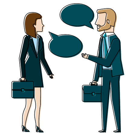 businesspeople with speech bubbles avatars characters vector illustration Stock Photo