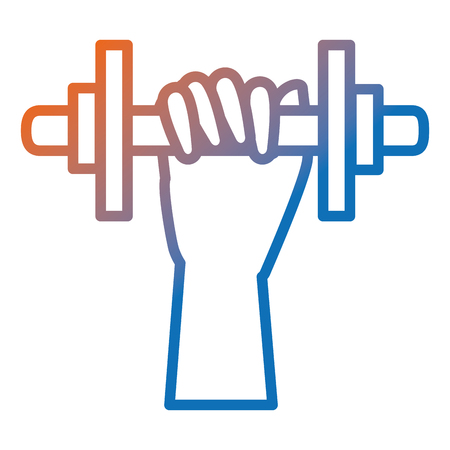 Hand human with weight lifting device gym vector illustration design.