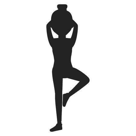 運動をしているアスリートの女性。ベクトルイラストレーションデザイン。