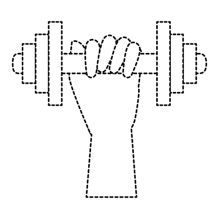 human hand with weight lifting device gym vector illustration design