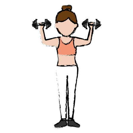 Athlete woman doing exercise weight lifting vector illustration design Stock Photo