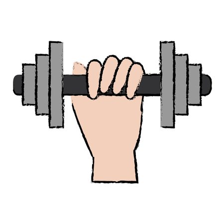 hand human with weight lifting device gym vector illustration design