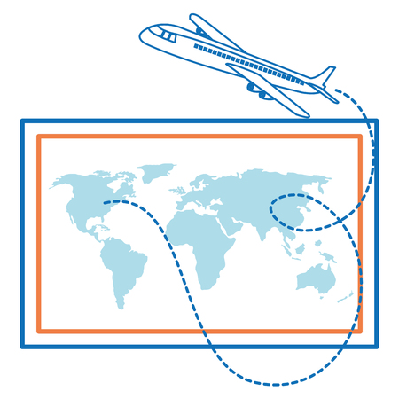 world paper map with airplane vector illustration design