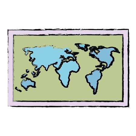 A world paper map icon vector illustration design