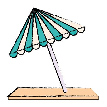 A beach umbrella with towel vector illustration design