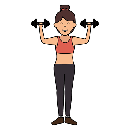 Athlete woman doing exercise weight lifting vector illustration design Illustration