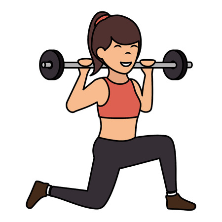 Athlete woman doing exercise weight lifting vector illustration design Stock Illustratie