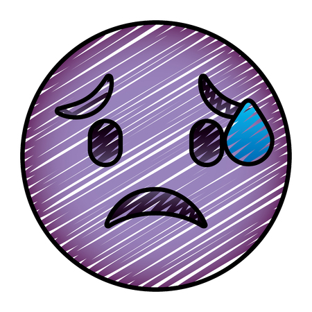 cute purple smile emoticon worried vector illustration drawing image Illustration
