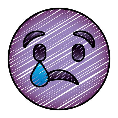 cute purple smile emoticon sad tear vector illustration drawing image
