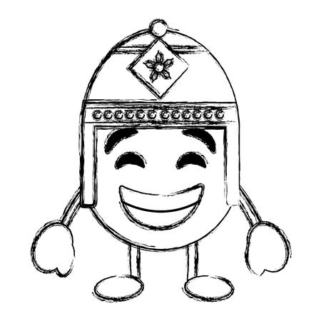 Lila Emoticon Cartoon Gesicht mit exotischen Hut Charakter Vektor-Illustration Skizze Bild Standard-Bild - 96314348