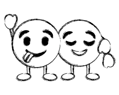 幸せな舌を抱きしめるかわいい絵文字は、キャラクターベクトルイラスト