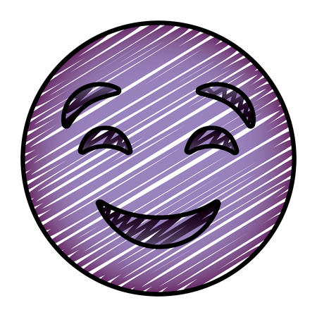 cute purple smile emoticon happy close eyes vector illustration drawing image