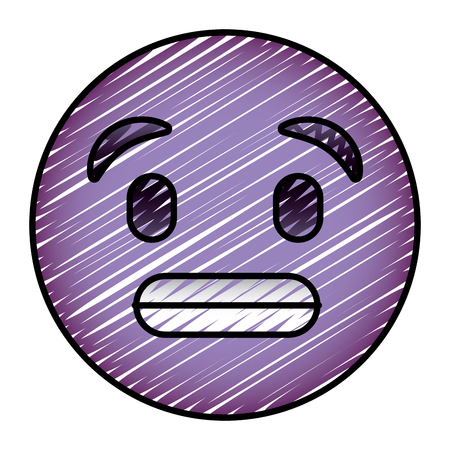 cute purple smile emoticon toothy smile vector illustration drawing image