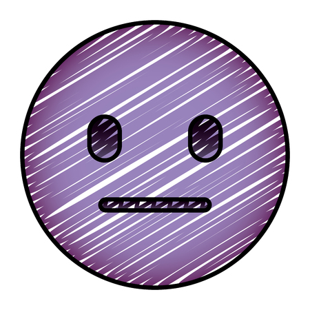 purple emoticon cartoon face speechless vector illustration drawing image Stock Illustratie