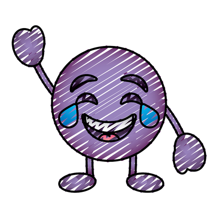 purple emoticon cartoon face smiling with tears character vector illustration drawing image Illustration
