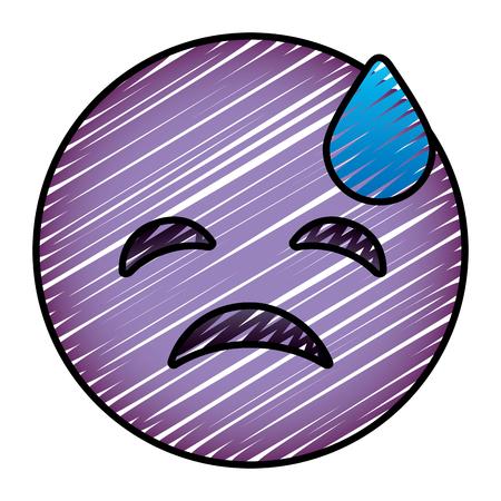 紫色の顔文字漫画の顔うつ病の涙ベクトルイラスト画像を描く