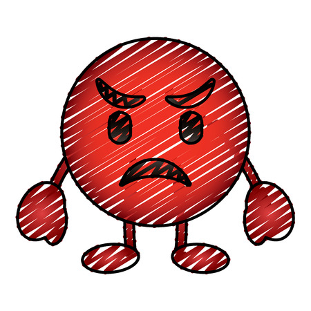 red emoticon cartoon face angry character vector illustration drawing image