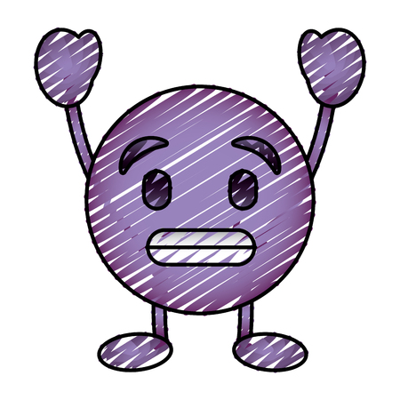 purple emoticon cartoon face toothy smile character vector illustration drawing image