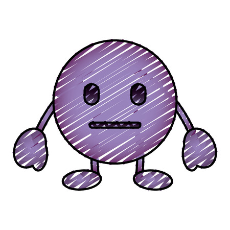 purple emoticon cartoon face speechless character vector illustration drawing image