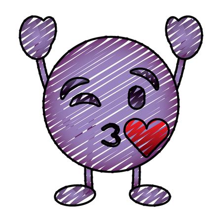 Purpurrotes Emoticonkarikaturgesicht, das ein Kussliebescharaktervektorillustrations-Zeichnungsbild durchbrennt Standard-Bild - 96316065