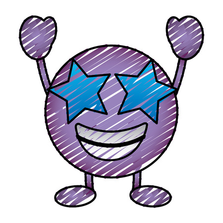 Purple emoticon cartoon face happy star eyes character vector illustration drawing image