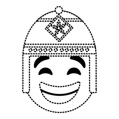 エキゾチックな帽子ベクトルイラスト点線画像と顔文字漫画の顔