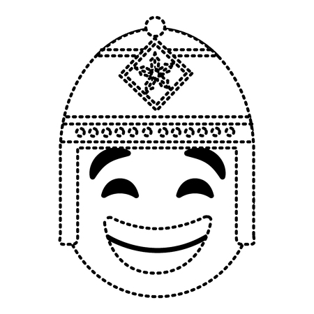 emoticon cartoon face with exotic hat vector illustration dotted line image