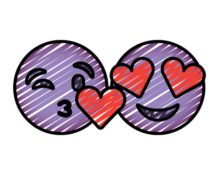 purple faces in love heart eyes and kiss vector illustration drawing image