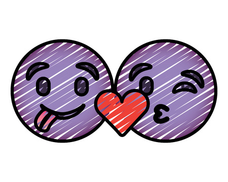 Purple emoticons faces tongue out and kiss vector illustration drawing image.