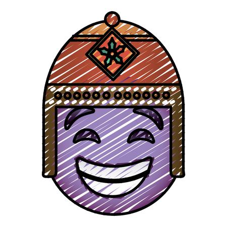 エキゾチックな帽子ベクトルイラスト描画画像と紫の顔文字漫画の顔。  イラスト・ベクター素材