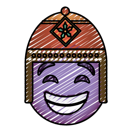 Purple emoticon cartoon face with exotic hat vector illustration drawing image.