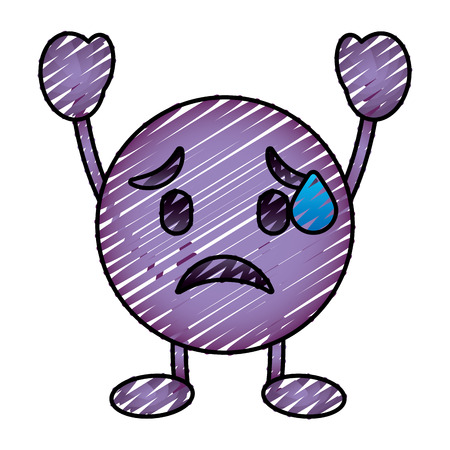 Purple emoticon cartoon face depressive character vector illustration drawing image. Illusztráció
