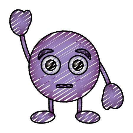Emoticon viola cartone animato faccia stupita carattere vettoriale illustrazione disegno immagine Archivio Fotografico - 96409711
