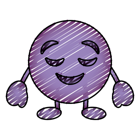 Purple emoticon cartoon face grinning closed eyes character vector illustration drawing image.