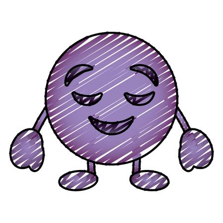 Purpurroter Emoticon Cartoon Gesicht gesichtslosen geschlossenen Augen Charakter Zeichnung Vektor-Illustration Bild Standard-Bild - 96326105