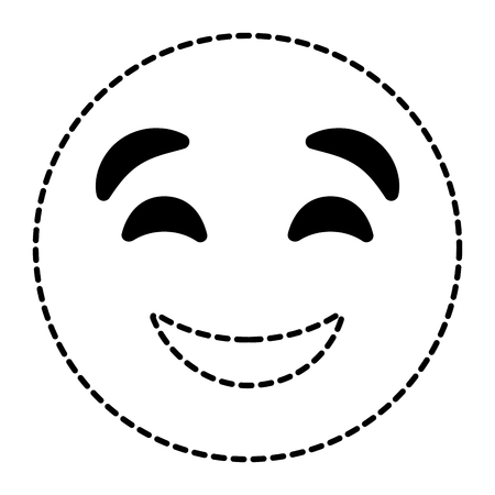 cute smile emoticon happy close eyes expression vector illustration dotted line image
