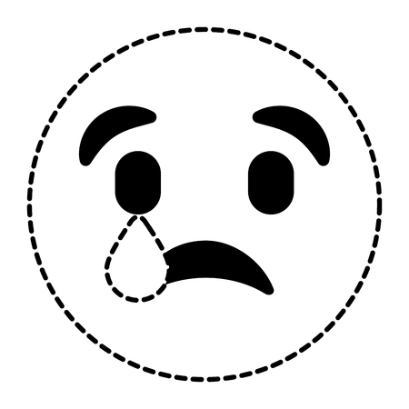 cute smile emoticon sad tear expression vector illustration dotted line image