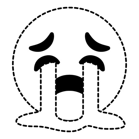 cute smile emoticon crying expression vector illustration dotted line image